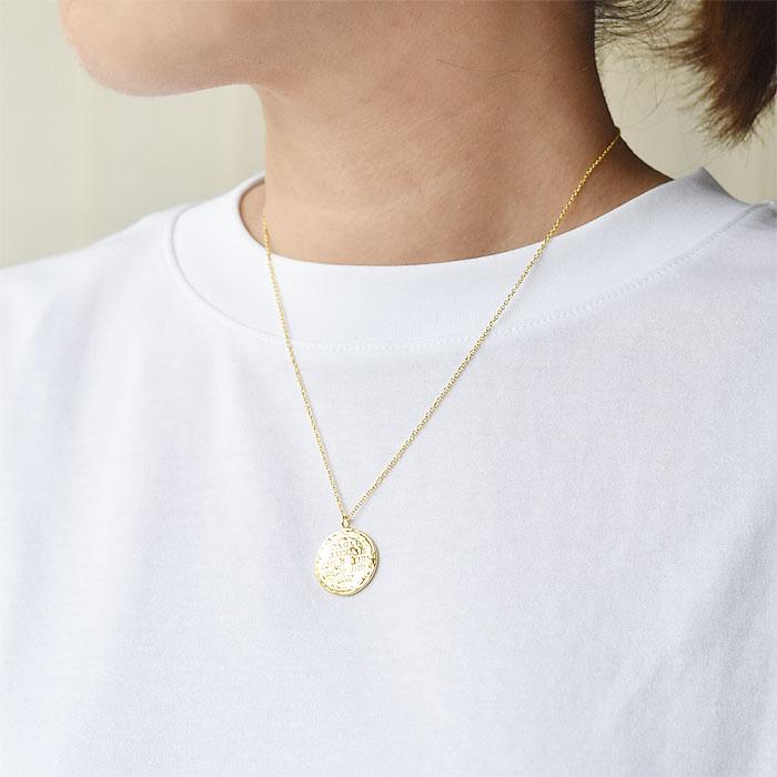 メキシコ エピグラフ レリーフ コイン ゴールド ネックレス 14金仕上げ Ancient Mexico Coin Necklace (Gold Plated)