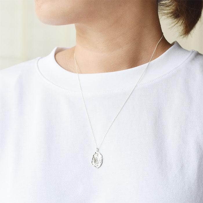 エジプト ヒエログリフ バード シルバー コイン ネックレス  Hieroglyph Bird Coin Necklace (Silver)