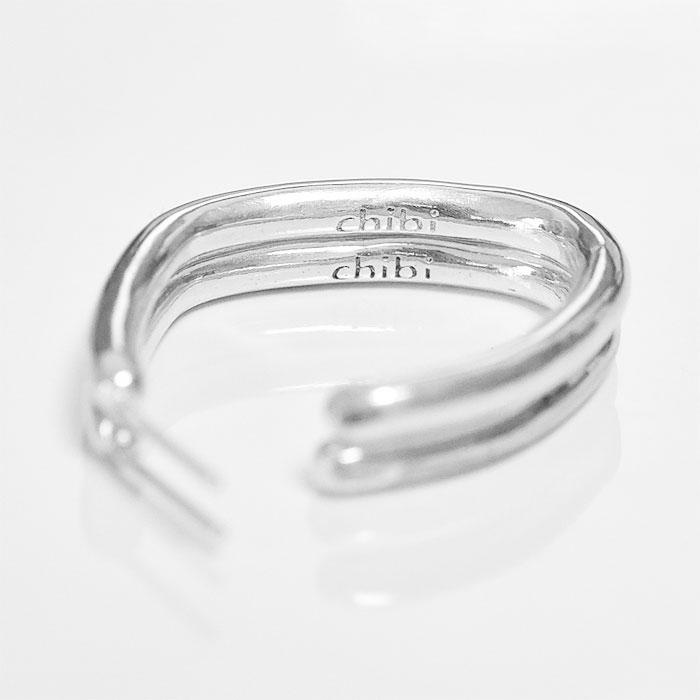 変形 カーブ ボリューム シルバー フープ ピアス Savi Hoop Earrings (Silver)