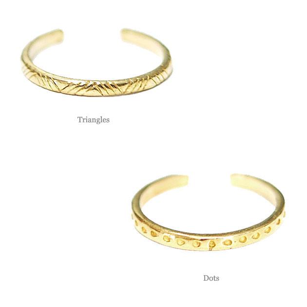 2デザイン インディアン トライアングル&ドット C型リング Indian Rings (Gold)