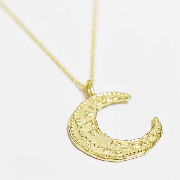 【受注販売 3ヵ月待ち】メキシコ 20ペソ 金貨 コインネックレス 月 ムーン モチーフ ゴールド ネックレス 14金仕上げ Veinte Pesos Moon Necklace (Gold Plated)