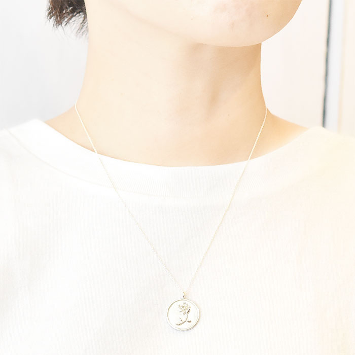 バラ 薔薇 コインネックレス メダリオン サークル シルバー ネックレス SV925 Rose Coin Necklace (Silver)