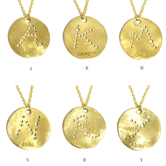 エンボス イニシャル スター 星 ゴールドメダル ネックレス 14金仕上げ メダイ コイン ロザリオ Initial Coin Necklace (Gold Plated)