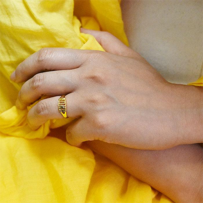 AMOR アモーレ 文字ロゴ 14金仕上げ ゴールド リング 指輪 Spanish Ring (Gold Plated)