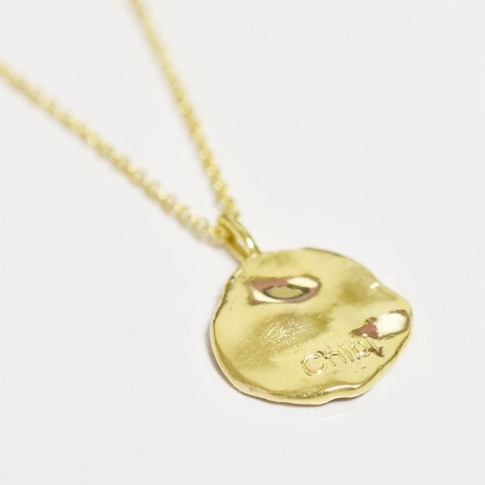 エジプト ヒエログリフ ライオン モチーフ コインネックレス メダリオン ネックレス コイン 14金仕上げ Hieroglyph Lion Coin Necklace (Gold Plated)