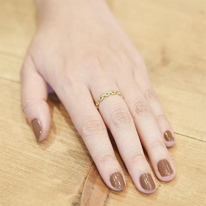 スキニー ハンマード チェーン モチーフ ゴールド リング Skinny Round Chain Ring (Gold)