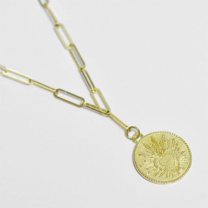 メキシコ コインネックレス レリーフ メダル レクタングル チェーン ネックレス ゴールド 14金仕上げ Mexico Coin Rectangle Chain Necklace (Gold Plated)