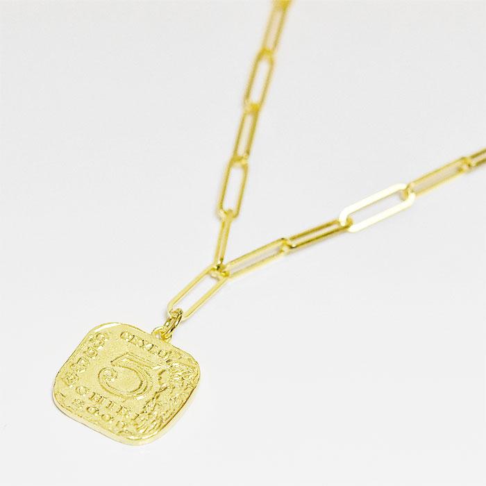 【受注販売】 スクエア コイン レクタングル チェーン ゴールド ネックレス 14金仕上げ Square Coin Rectangle Chain Necklace (Gold Plated)