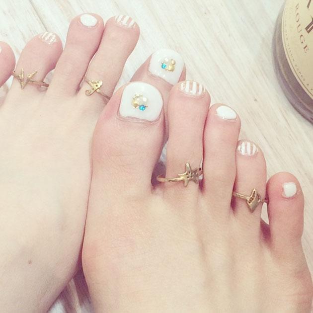 全5デザイン タツノオトシゴ・珊瑚・貝がら 海モチーフ トゥリング ミディリング ピンキーリング Seashell Toe Rings (Gold)
