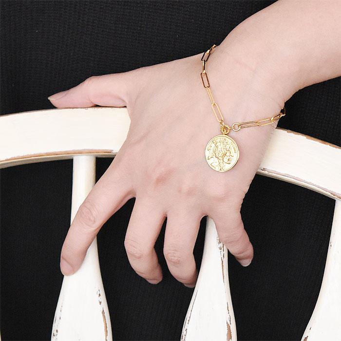 ネイティブ メダリオン コイン レクタングル チェーン ブレスレット ゴールド 14金仕上げ Native Coin Medallion Rectangle Chain Bracelet (Gold Plated)