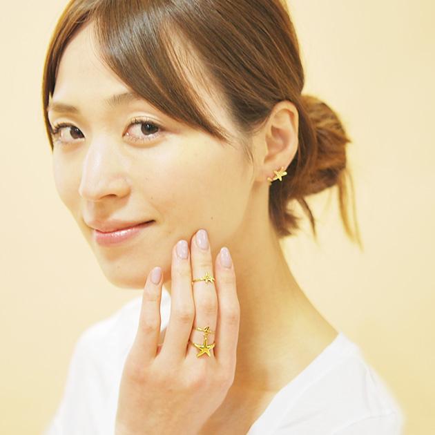 全5デザイン タツノオトシゴ・珊瑚・貝がら 海モチーフ リング 指輪 Seashell Stackable Ring (Gold)