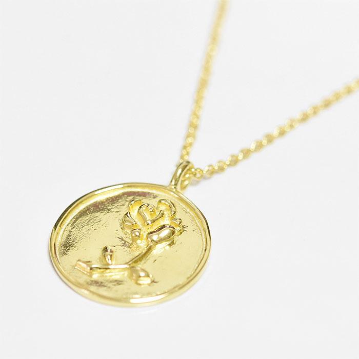 バラ 薔薇 モチーフ コインネックレス メダリオン サークル コイン ネックレス ゴールド 14金仕上げ Rose Coin Necklace (Gold Plated)