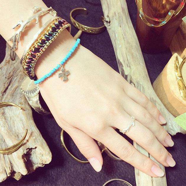 全3スタイル ネイティブ チャーム ターコイズ ブレスレット Pure Turquoise Bracelet (Silver)
