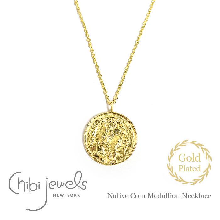 ネイティブ コインネックレス メダリオン サークル ネックレス コイン ゴールド 14金仕上げ Native Coin Medallion Necklace (Gold Plated)