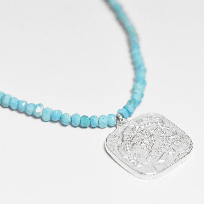 スクエア コイン シルバー ターコイズ ネックレス Pure Gemstone Necklace with Square Coin (Silver)