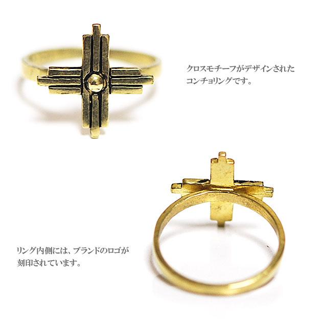 ボヘミアン クロス ゴールド コンチョ リング Cross Flora Ring (Gold)