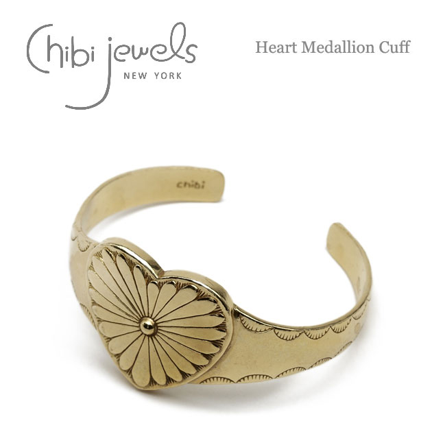 ネイティブ ハート C型 ゴールド バングル Heart Medallion Cuff (Gold)