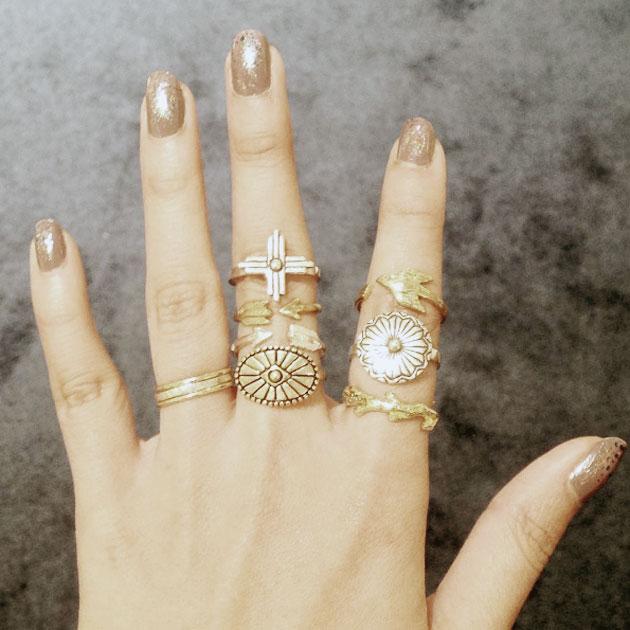 ボヘミアン オーバル フラワー ゴールド コンチョ リング Oval Flora Ring  (Gold)