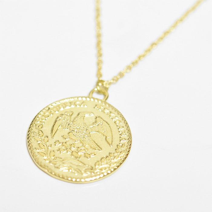 メキシコ コインネックレス レリーフ メダル ネックレス ゴールド 14金仕上げ Mexico Coin Necklace (Gold Plated)