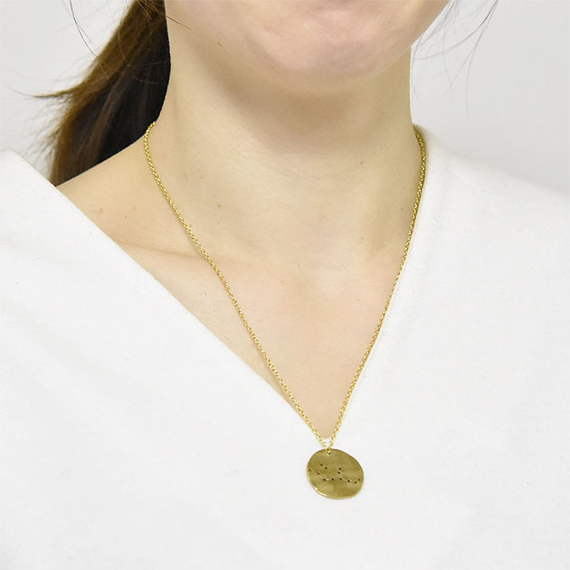 星座 おとめ座 ゴールド プレート ネックレス Zodiac Virgo Large Necklace (Gold)
