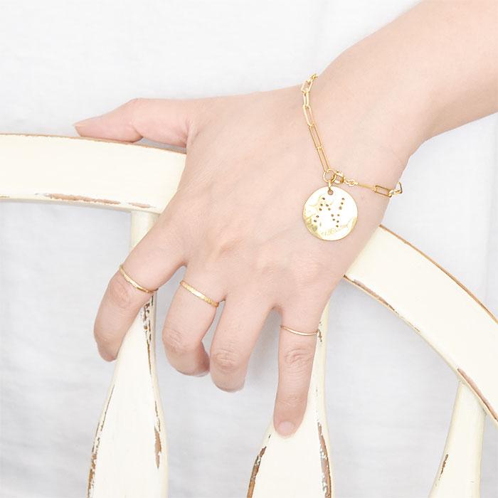 ブラッシュ加工 ゴールド シンプル C型 イヤーカフ リング 14金仕上げ Hammered Texture Ring (Gold plated)