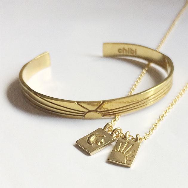 月と太陽プレート ゴールド ネックレス Sun&Moon Escapular Necklace (Gold)