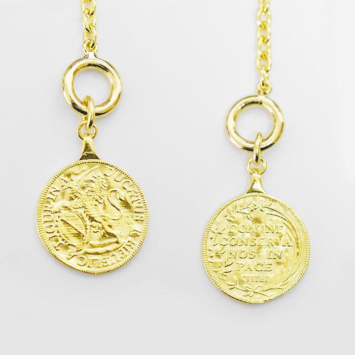 ライオン サークル レリーフ コイン ゴールド マンテル ネックレス 14金仕上げ Ancient Coin Necklace (Gold)
