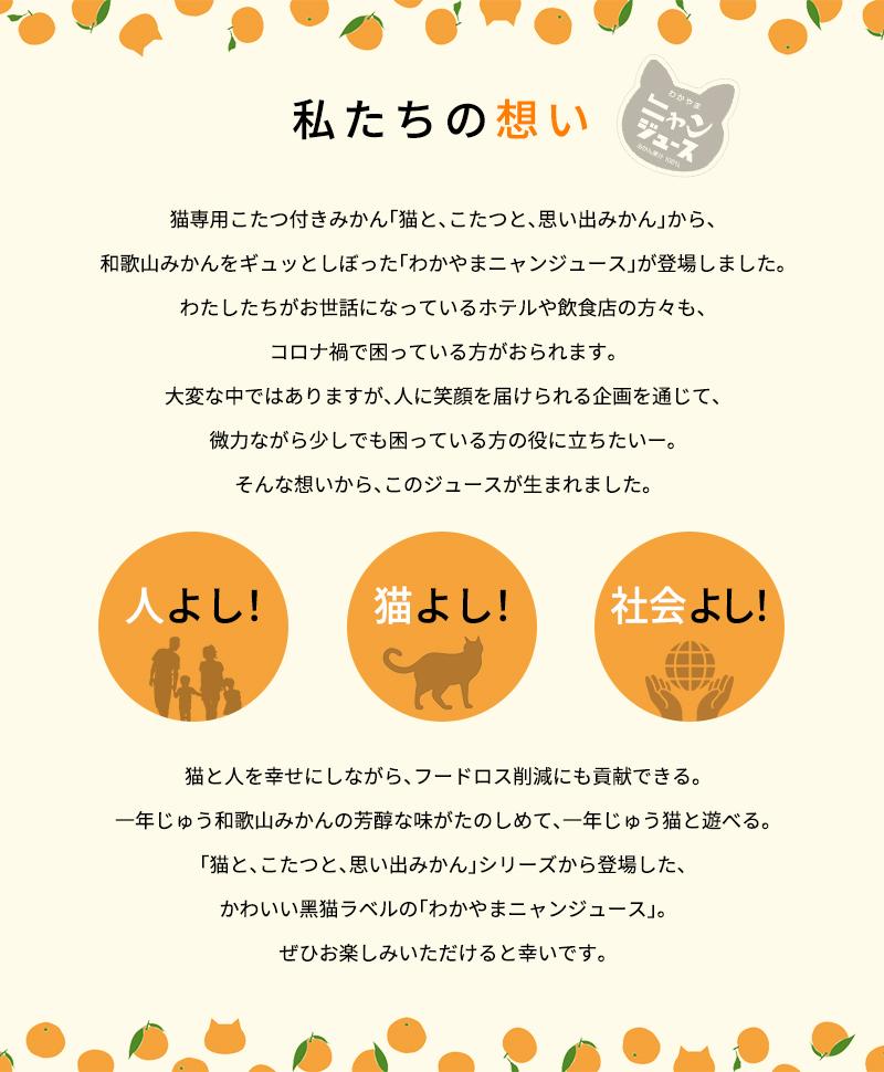 わかやま ニャンジュース 180ml瓶×10本入  (和歌山みかん100% ストレート 保護猫活動 オレンジジュース みかんジュース 果汁100%)