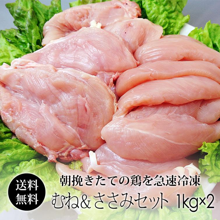 国産 鶏肉 紀州うめどり むね肉&ささみ 2kgセット (和歌山県産 銘柄鶏 鶏ムネ肉&ササミ) [送料無料]【紀の国みかん鶏での代用出荷】