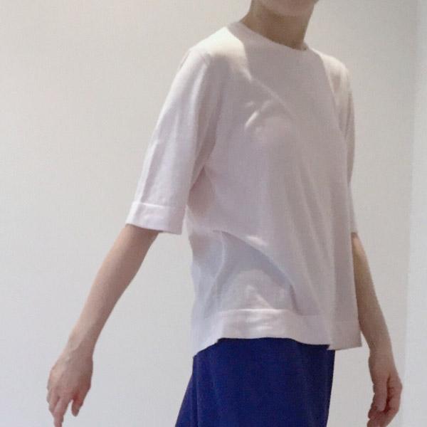 超長綿半袖ニット