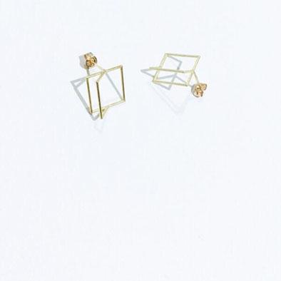 yorikojewellery しかく×半四角ゴールドピアス