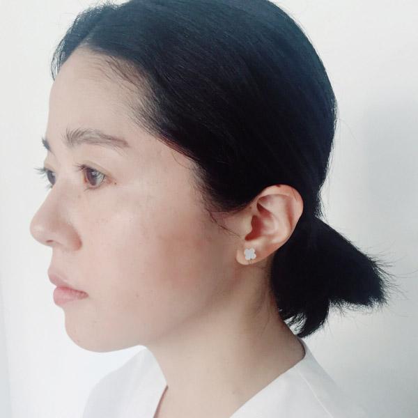 yoriko mitsuhashi 白蝶貝クローバーイヤリング