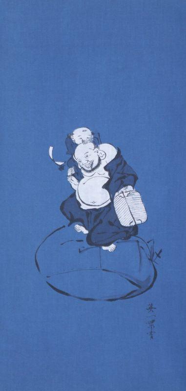 藍-0009 藍染め軸 ≪布袋と童子≫