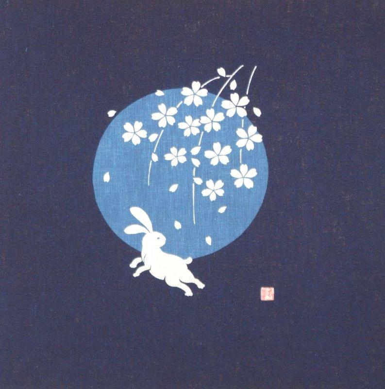 藍-0015 藍染め軸 ≪桜月にウサギ≫