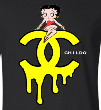 CHILDQ & Betty Long T-shirt Black×YELLOW