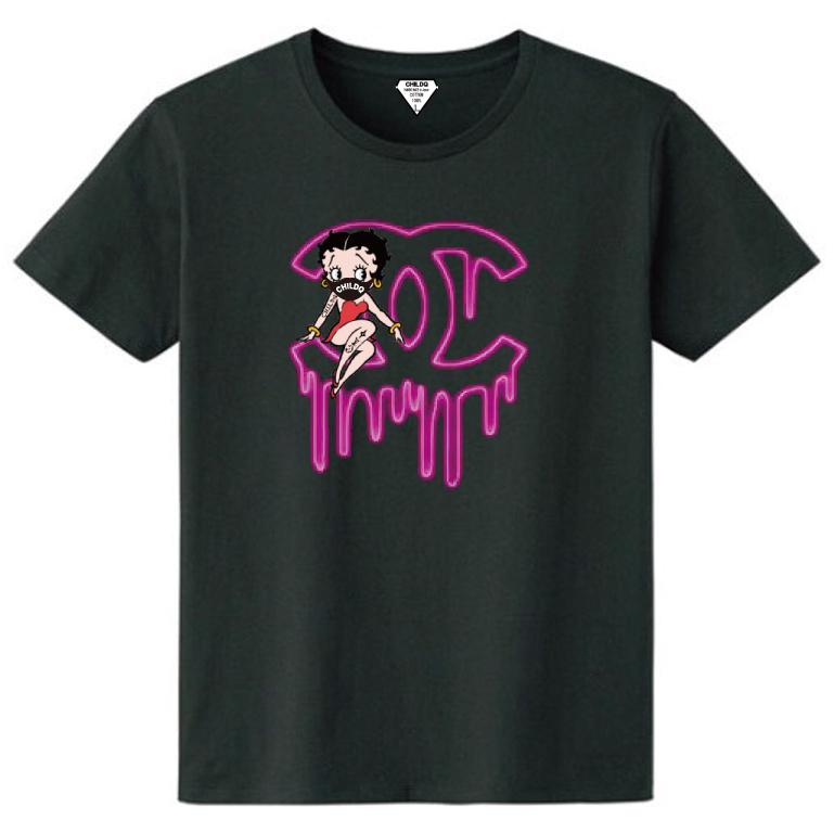 CHILDQ & Betty N.o3 Black x neon pink T-shirt