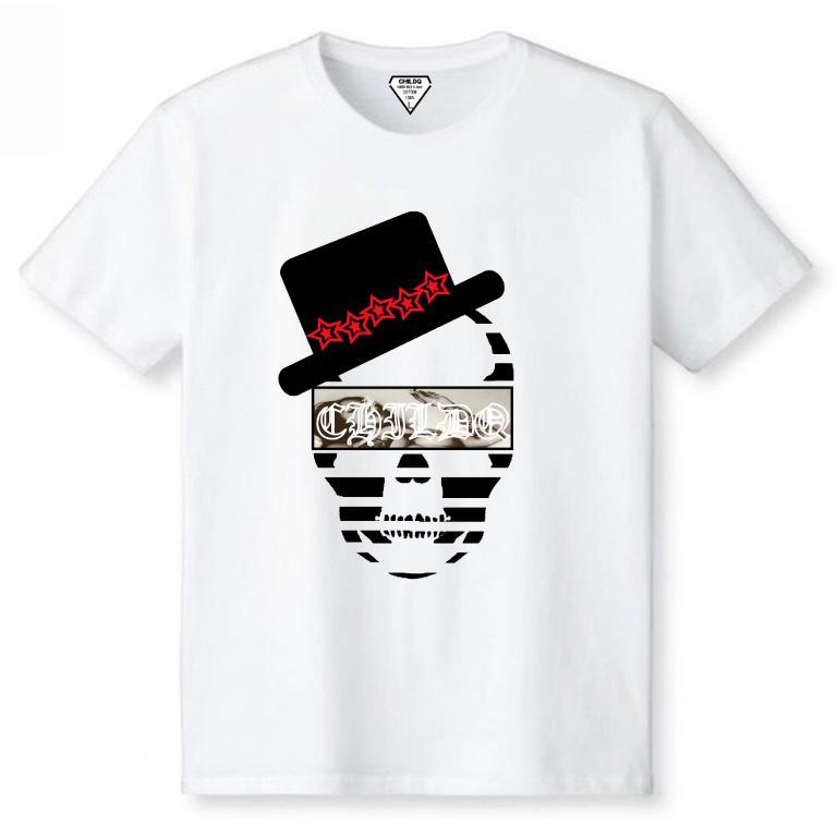 Skull Hat Star T-shirt White×Red