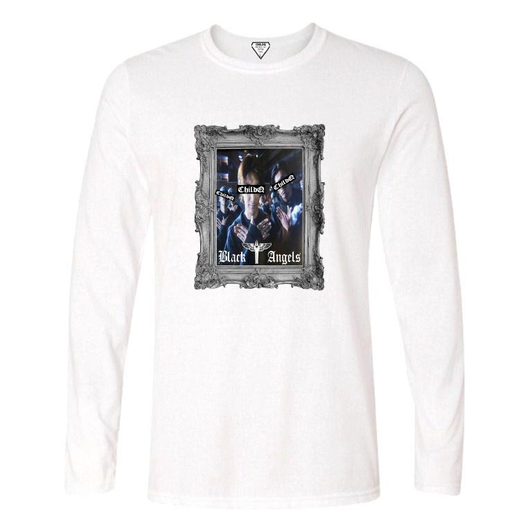 Black angels Artwork Long T-Shirt White