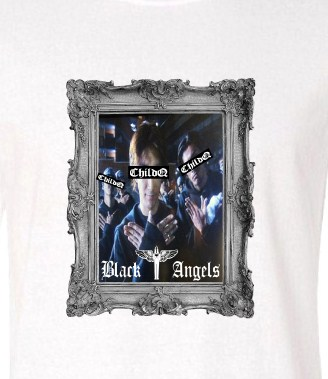Black angels Artwork Long T-Shirt White