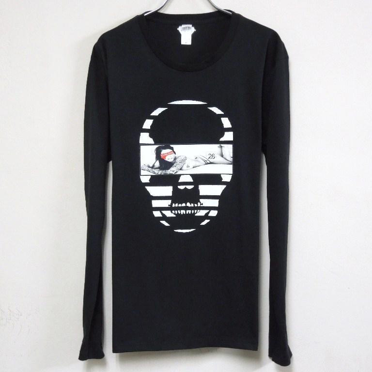 Skull Tattoo Girl NO.26 Long T-shirt Black