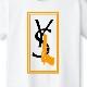 Parody Hand Gun T-shirt White×Orange
