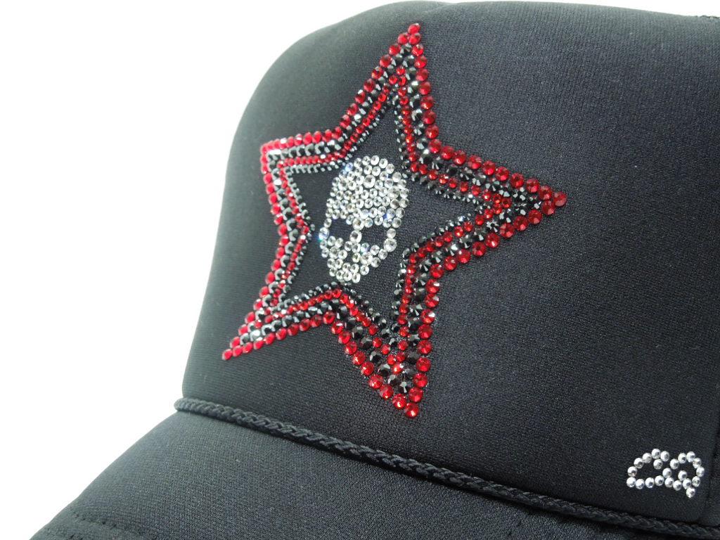 Stars Skull Swarovski Cap Black×Red