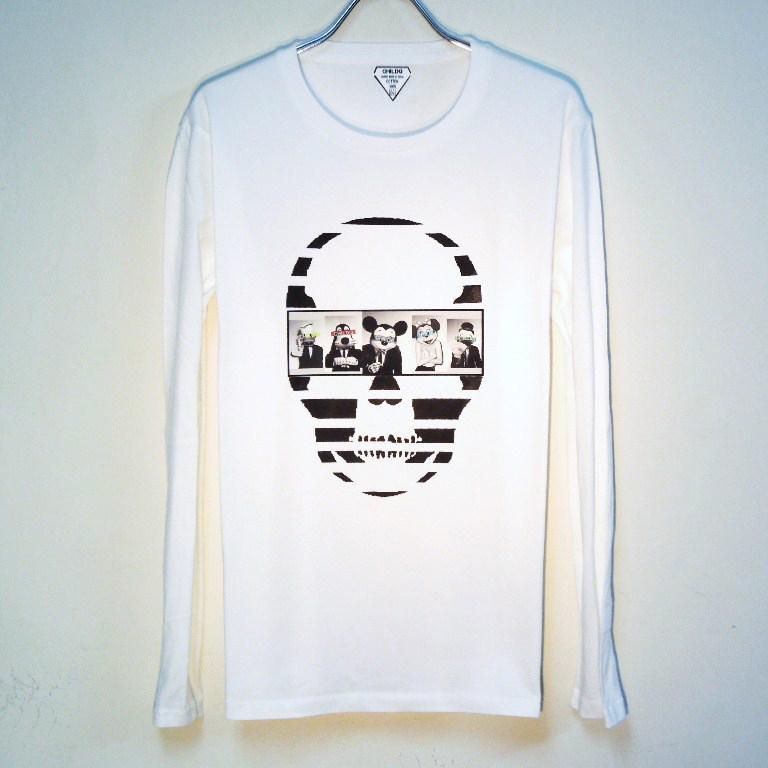 Skull Secret animal Long T-shirt White