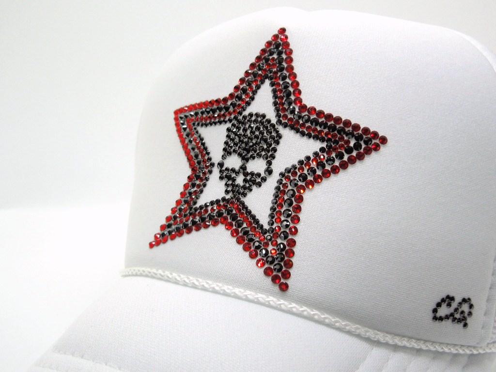 Stars Skull Swarovski Cap White×Red