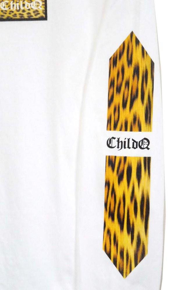 Leopard print long T-shirt white