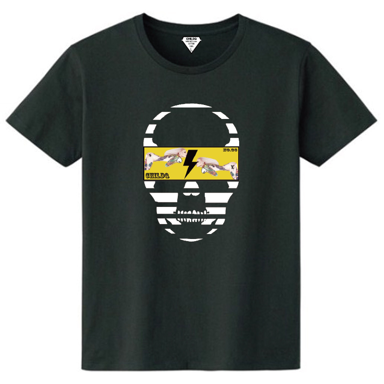 Skull Tattoo Girl NO.36  T-shirt Black