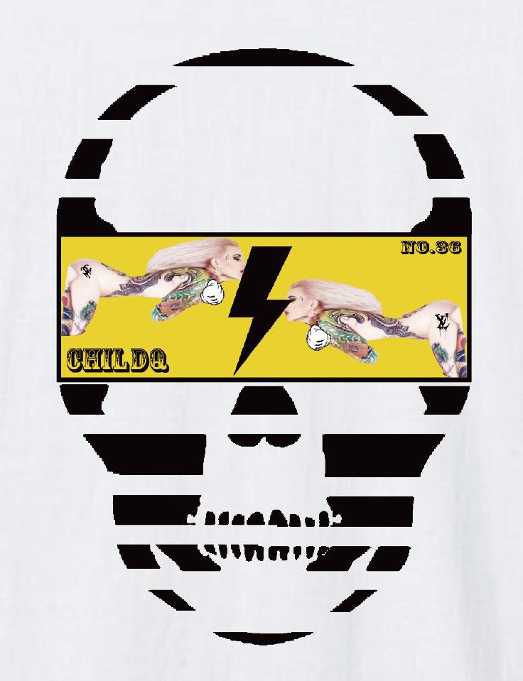 Skull Tattoo Girl NO.36 T-shirt  White