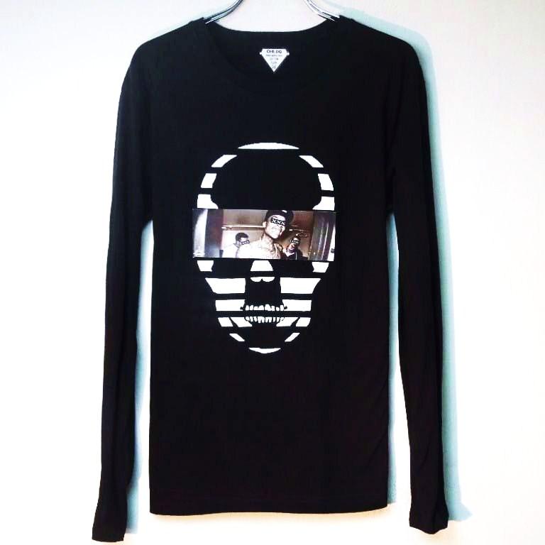 スカル フォト スタイル スワロフスキー ロングTシャツ / Black×Tattoo