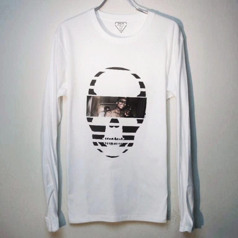 スカル フォト スタイル スワロフスキー ロングTシャツ / White×Tattoo