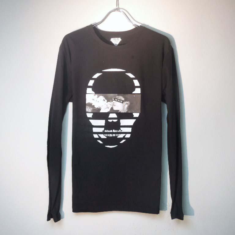 スカル フォト スタイル スワロフスキー ロングTシャツ / black×Smoke
